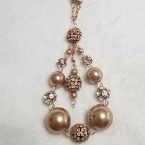 Rose Gold bead and crystal Necklace